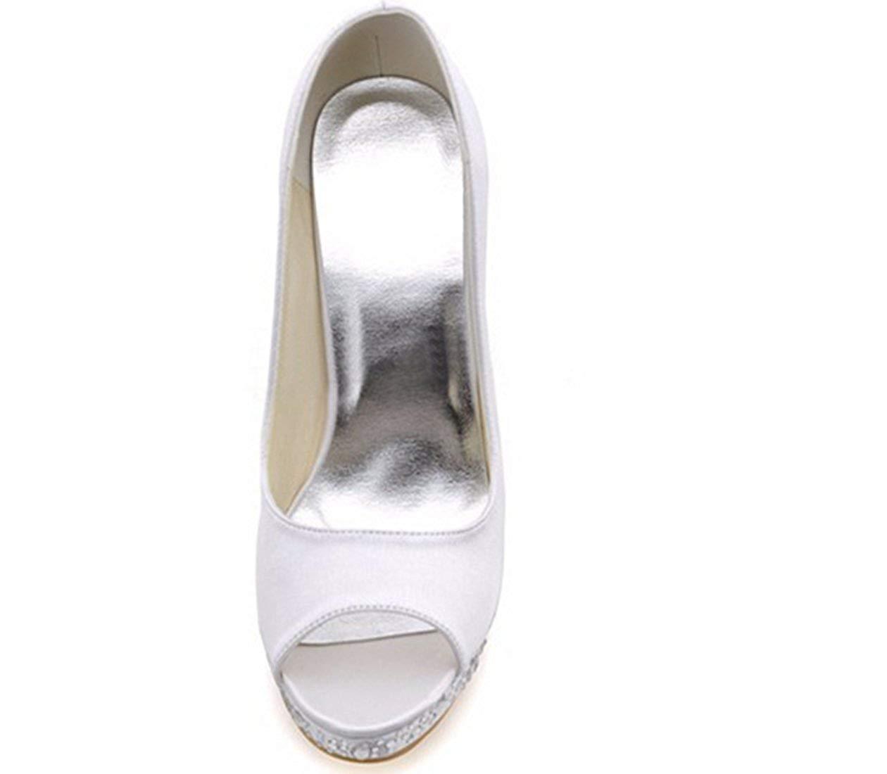 ZHRUI Damen Peep Toe Kristalle Stiletto High High High Heel Weiß Satin Braut Hochzeit Sandalen UK 8 (Farbe   -, Größe   -) 8bc735