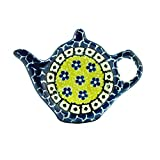 Polish Pottery Handmade Teapot Teabag Holder Traditional Stoneware Pattern 766-859