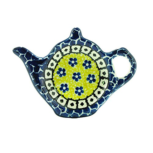 Polish Pottery Handmade Teapot Teabag Holder Traditional Stoneware Pattern 766-859 by Polish Pottery Ceramika