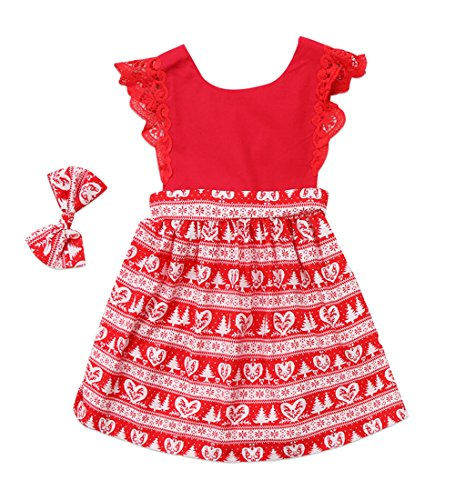 Christmas Toddler Newborn Kids Baby Girls Dress Clothes Romper Playsuit + Headband Outfits (3-4 Years, Red-Girl Dress)