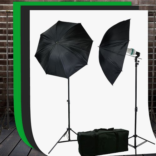 ePhoto Video Studio Lighting Kit with Background Support Stands 3pcs 10'x10' Chromakey Green Screen, Black, White and Case by ePhotoInc HKZ03