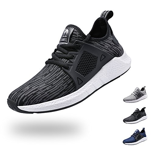 CAMEL CROWN Men's Lightweight Running Shoes Knit Breathable Athletic Shoes Casual Outdoor Sneakers(Black/8 US)