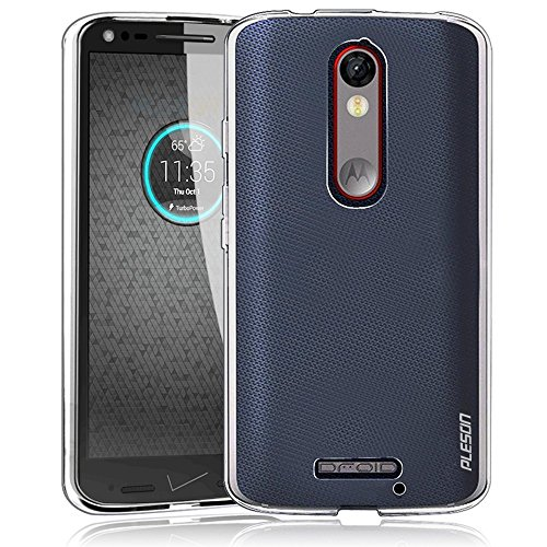Droid Turbo 2 Case, PLESON [Tou] Motorola Droid Turbo 2/Moto X Force Case Cover, Crystal Clear/Ultra-Thin/Lightweight/Exact Fit/NO Bulkiness Clear Back Panel+Soft Bumper Case for Droid Turbo 2