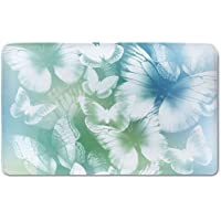 Memory Foam Bath Mat,Light Blue,Dreamlike Butterflies in Spring Garden Blurry Fantasy WingsPlush Wanderlust Bathroom Decor Mat Rug Carpet with Anti-Slip Backing,Light Blue Light Green White
