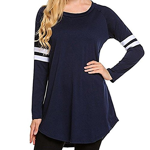 - HGWXX7 Women Tops Long Sleeve Casual Autumn O-Neck Tunic Blouse Sweatshirt Shirt(XL,Navy)