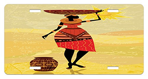 Lunarable African License Plate, African Woman with a Pot on Her Hand Bohemian Folkloric Culture Illustration, High Gloss Aluminum Novelty Plate, 5.88 L X 11.88 W Inches, Mustard Scarlet