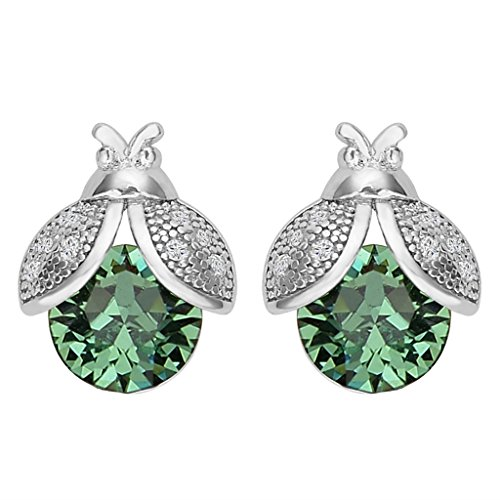 EVER FAITH 925 Sterling Silver CZ Lovely Ladybug Stud Earrings Green Adorned with Swarovski crystals