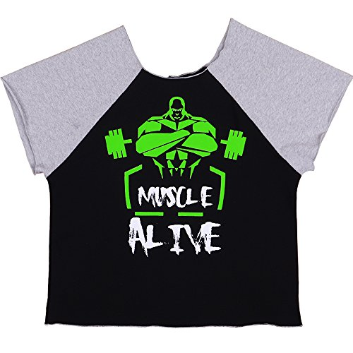 MUSCLE ALIVE Bodybuilding Rag Top Terry Cotton Black with Gray Color Size - Mens T-shirt Alive