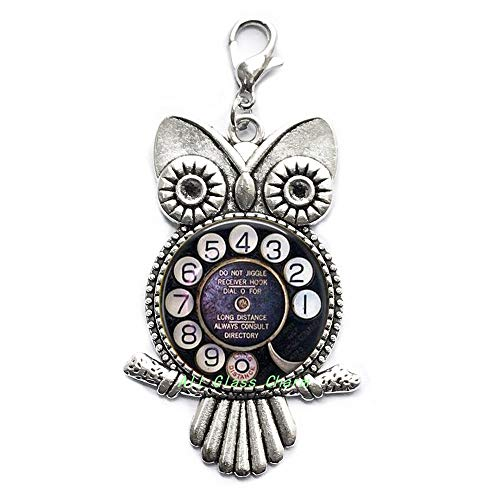 AllGlassCharm Old Telephone Dial-Nostalgic Jewelry-Telephone Dial Lobster Clasp-Telephone Owl Zipper Pull-Payphone-Old Technology,AS057 (Dial Jewelry Clasp)