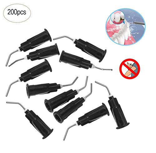 Fashionclubs Blunt Tip Dispensing Needles 20Ga,200pcs Disposale Dental Pre-Bent Irrigation Needle Tips,Black,Great for Oil or Glue Applicator