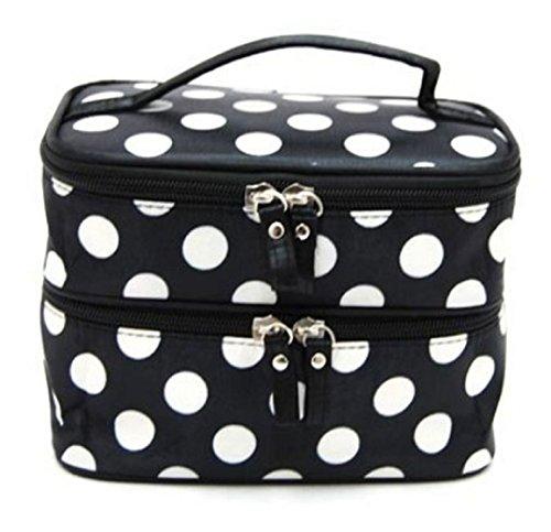 Malloom® Donna Saluto Dot trucco di caso Doppio Cosmetic Handbag strumento di archiviazione da toilette (B)
