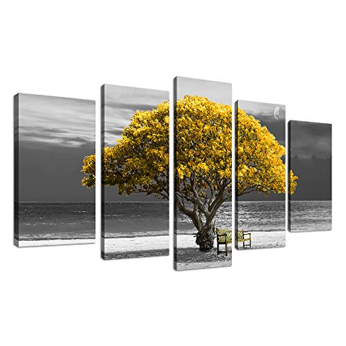 5 piece canvas wall art for living room Decorations Photo Prints - yellow tree The scenery Landscape - Modern Home Decor The room Stretched and Framed Ready to Hang artwork ()