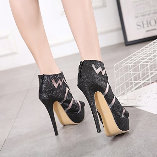 ALUK- Women's shoes - European and American fashion / high heels / waterproof Taiwan cool boots / sexy shoes ( Color : Black , Size : 36-Shoes long230mm ) Black
