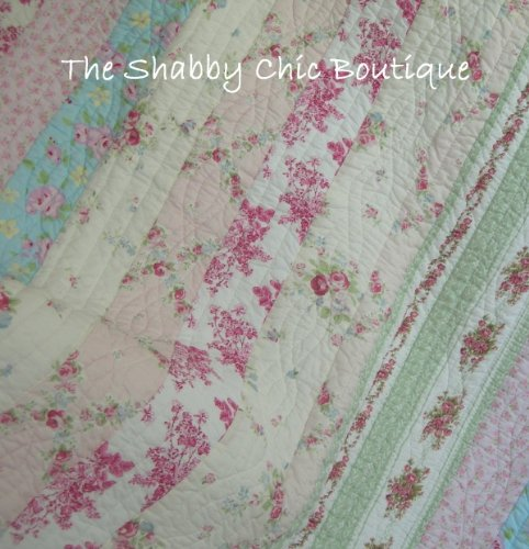 Full Queen Quilt Set Shabby Patchwork Vintage Pink Rose Chic - Shabby Pink Cottage