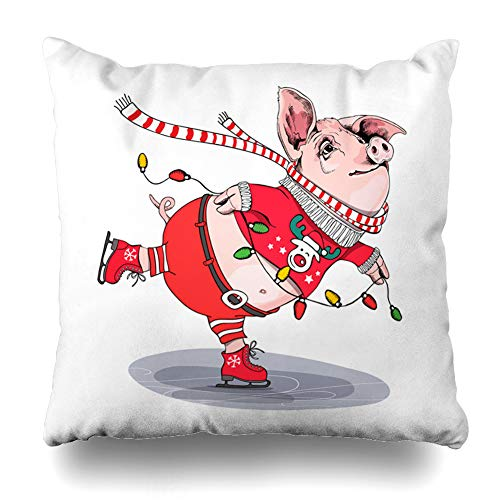 DIYCow Throw Pillows Covers Pink Cute Pig Skating She Red Cardigan is in Cool Drawing Deer Pants Scarf New Year Christmas Boot Home Decor Pillowcase Square Size 20 x 20 Inches Cushion Case