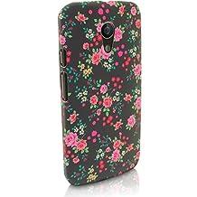 iGadgitz '3D Designer Collection' Pink Rose Floral Pattern PC Hard Back Case Cover for Motorola Moto G 2nd Generation 2014 XT1068 (G2) + Screen Protector