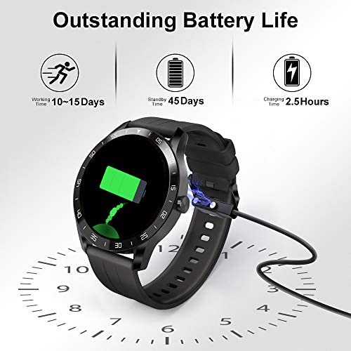 "Blackview Smart Watch for Android Phones and iOS Phones, Smart Watches for Men Women, Fitness Tracker Watch with Heart Rate Sleep Monitor, 1.3"" Full Touch Screen, 5ATM Waterproof Pedometer(46mm)…"