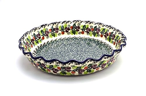 Polish Pottery Baker - Pie Dish - Fluted - Burgundy Berry Green