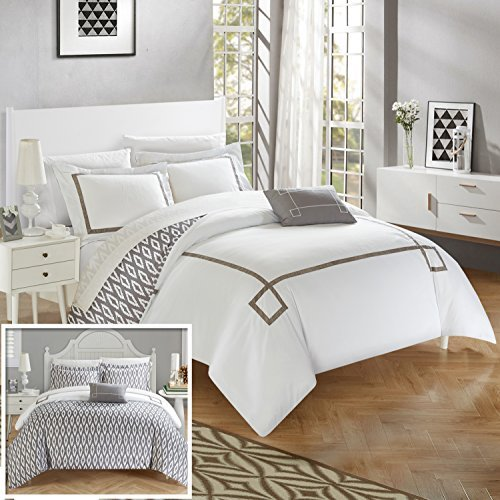 Chic Home DS2967-AN 4 Piece Kendall Contemporary Greek Key Embroidered Reversible Duvet Cover Set Shams And Decorative Pillows Included, Queen, (Queen Hotel Collection Embroidery)