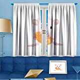 AmaPark Design Print Thermal Insulated Blackout Curtain White Laboratory Rat Eating Carrot Isolated on White Background for Living Room108 W by 63″ L Pair. Review