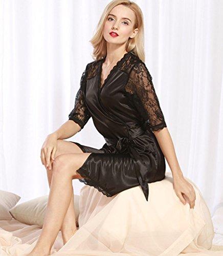 V Classic Notte Di Cinghia Da Semplice Raso Spaghetti Camicia WanYang In Camicia Da Neck Nero Sexy Donna Notte n6qvH4