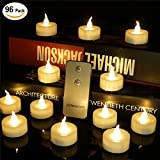 96 PCS Remote Control Warm White Flicker Flameless Led Mini Tea lights For Luminary Bags Realistic Bright Flickering Bulb Faux Candle With Battery-powered Wedding Votive Decoration For Party Event