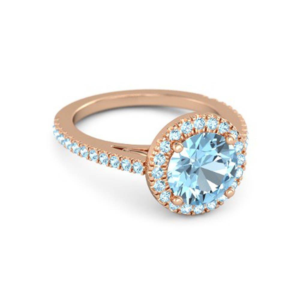 Sparkling 14K Rose Gold Plated 7 MM Round Cut Blue Aquamarine Wedding Engagement Ring-Halo Ring