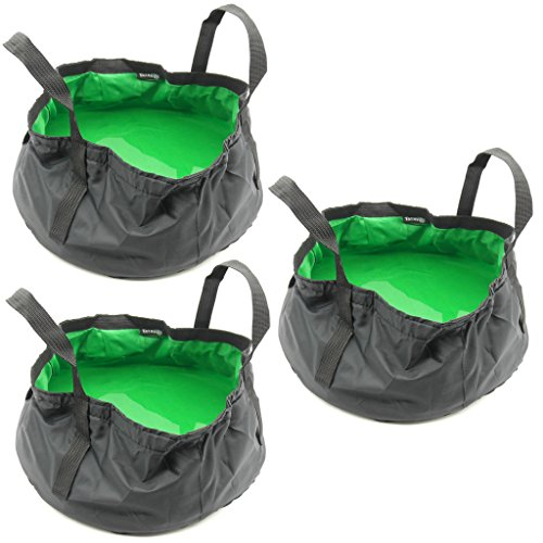 TrendBox 3 x Foldable Wash Basin Sink Water Bag Portable Mini 8.5L For Footbath Camping Hiking Outdoor Durable Design - Green ()