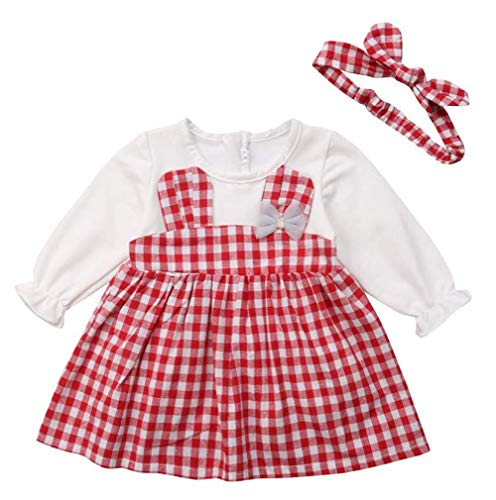stylesilove Sweet Baby Girl Long Sleeve 3D Bunny Ears Checkered Dress and Headband 2 pcs Outfits (Red, 6-12 -