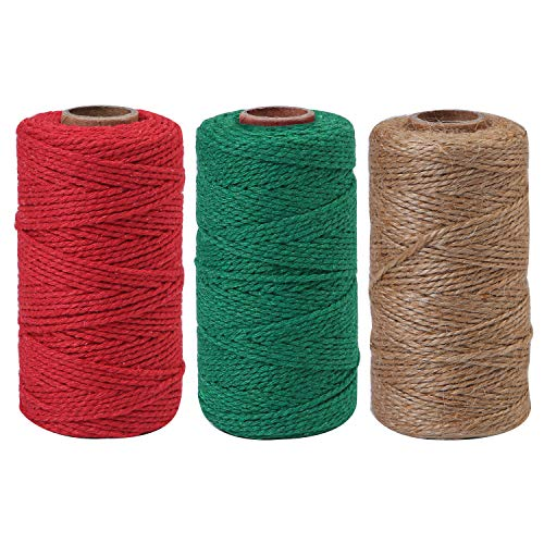 Elcoho 984 Feet Christmas Gift Twine Cotton String Natural Jute Rope Baker Twine for DIY Arts Crafts Gift Wrapping, 3 Rolls