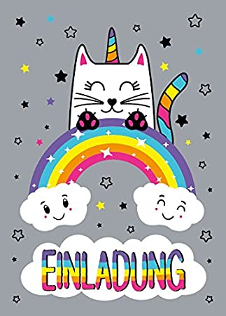 Juna Experten 8 Einladungskarten Katze Einhorn Kindergeburtstag