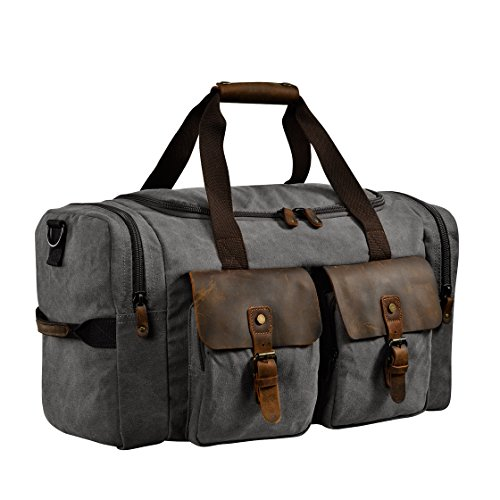 Kopack Travel Duffel Bag W Shoe Pocket Genuine Leather Mens Weekender Bag Canvas Khaki/Grey/Army Green 22