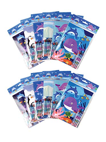 - Ocean Life Coloring Books with Crayons Party Favors, Set of 12