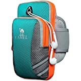 Camel Waterproof Workout Phone Holder with Earphone Hole,Men/Women Reflective Running Armband, Jogging Sports Phone Holder for Universal Smartphones like Iphone X/8/8Plus/7/7plus/Samsung Galaxy S10