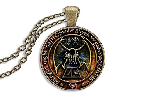 - Persona Model Agency Cthulhu Pendant - 7th Edition H.P. Lovecraft Call Of Cthulhu Pendant Necklace - Glass Cabochon Cover - R'lyeh Inscription