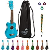 Hola! Music HM-21LB Soprano Ukulele Bundle with Canvas Tote Bag, Strap and Picks, Color Series - Light Blue