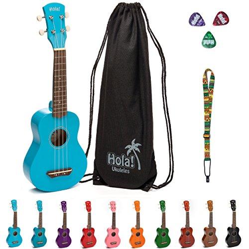 Hola! Music HM-21LB Soprano Ukulele Bundle with Canvas Tote Bag, Strap and Picks, Color Series - Light Blue