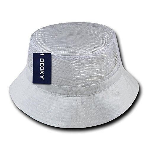 DECKY Mesh Bucket Hat, White, Large/X-Large
