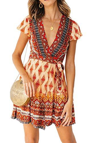 (PRETTYGARDEN Women's Summer Deep V Neck Leaf Printed Ruffle Hem Split Wrap A Line Mini Dresses with Belt (X-Red, X-Large))