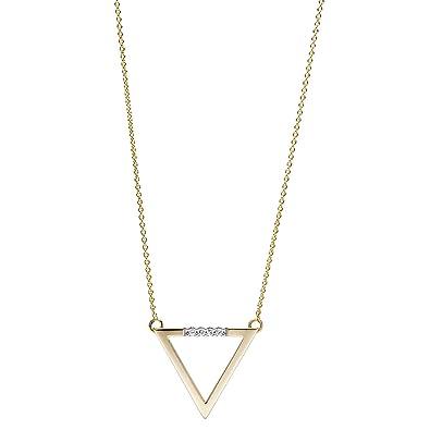 SchmuckDesign-Nord Collier triangle avec 5 diamants Or jaune 585 40 à 42 cm a459db45e64a