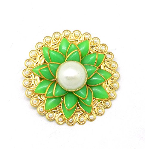 5a714638d07 Buy Saree Pin Brooch Saree Accessories Decorated With Green & White Pacchi,  beads & flower Online at Low Prices in India | Amazon Jewellery Store -  Amazon. ...