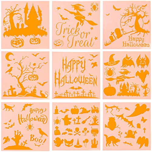 Halloween Stencils Ghost (Coitak 9 Pieces Halloween Stencils Plastic Drawing Templates Theme Painting Template with Pumpkin, Bat, Ghost, Owl, Hat (6 x)