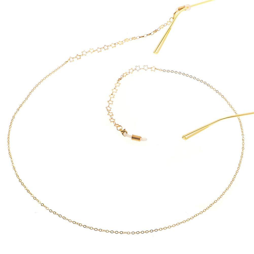 Gold Suneast Metal Star Glasses Chain Holder Anti-slip Eyeglass Strap//Sunglass Cord//Spectacle Neck String//Eyewear Lanyard Retainer for Women and Men 78cm