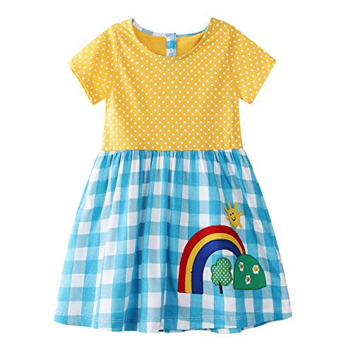 Cute Toddler Girl Tunic Dress Shirt Check Rainbow Short Sleeve Cotton Basic Dress -