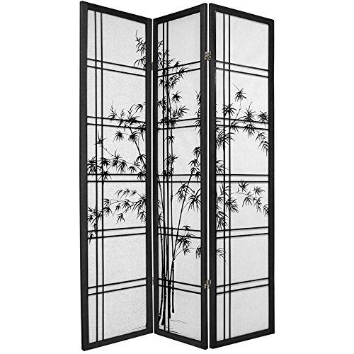 Oriental Furniture 6 ft. Tall Double Cross Bamboo Tree Shoji Screen - Black - 3 Panels ()