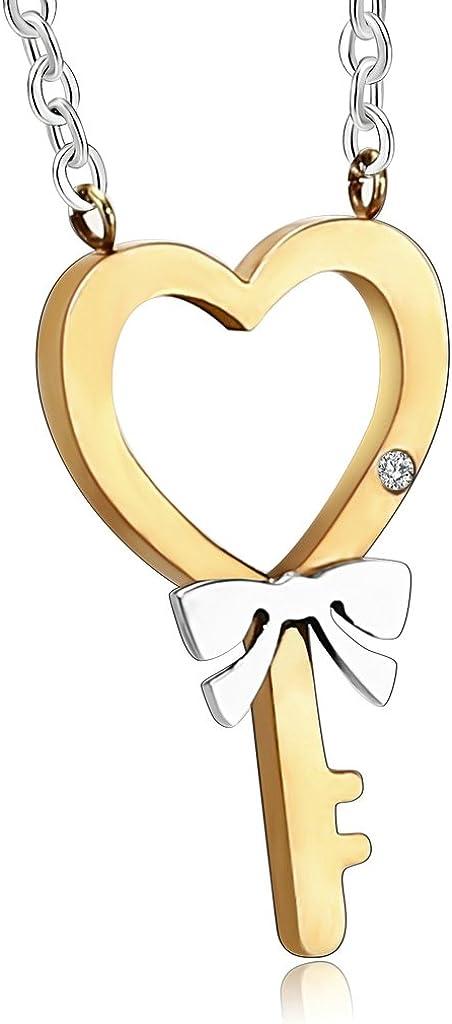 MoAndy Stainless Steel Men,Womens Lock Key Heart Classic Design Pendant Necklace