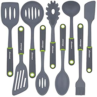 Kitchen Utensil Set, Novosun Silicone Cooking Utensil Set Include Steak Spatula Turner Spoon for Nonstick Cookware Non-Toxic Heat Resistant Silicone Kitchen Tools Sets Cooking Gadgets Gift (9 PCS)