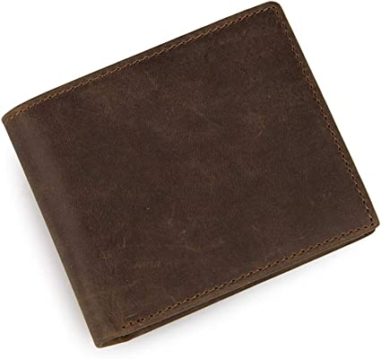 Trifold Mens Men/'s Genuine Leather Wallet L-shaped Double Flip with ID Window