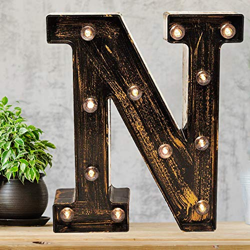 Pooqla Vintage Light Up Marquee Letters with Lights - Illuminated Industrial Style Lighted Alphabet Letter Signs - Coffee Bar Apartment Bedroom Wall Home Initials Decor - N (Lighted Metal Letters)