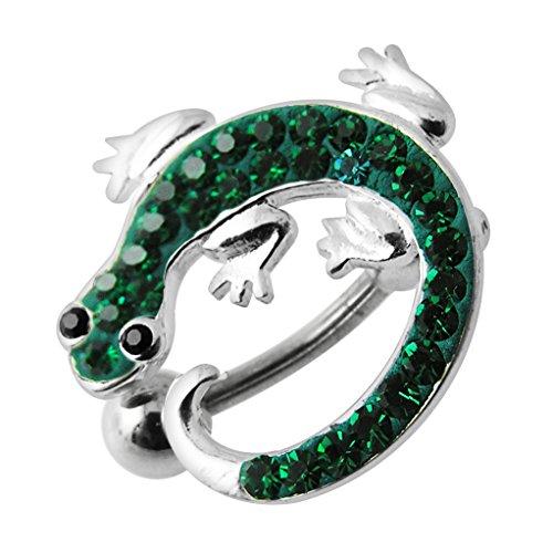 Crystal Lizard Dangle - Emerald Green Multi Crystal Stone Lizard Reverse Bar Design 925 Sterling Silver Belly Button Piercing Ring Jewelry